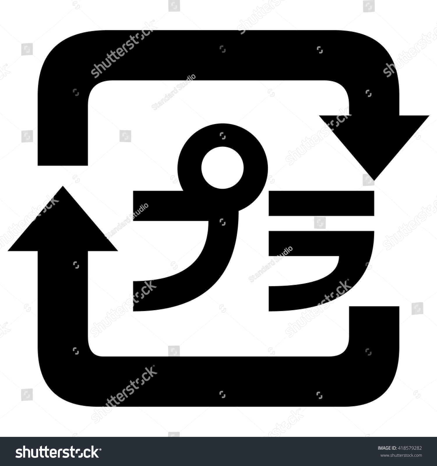 Japanese Recycling Symbol Plastic Containers Packaging Stock Vector