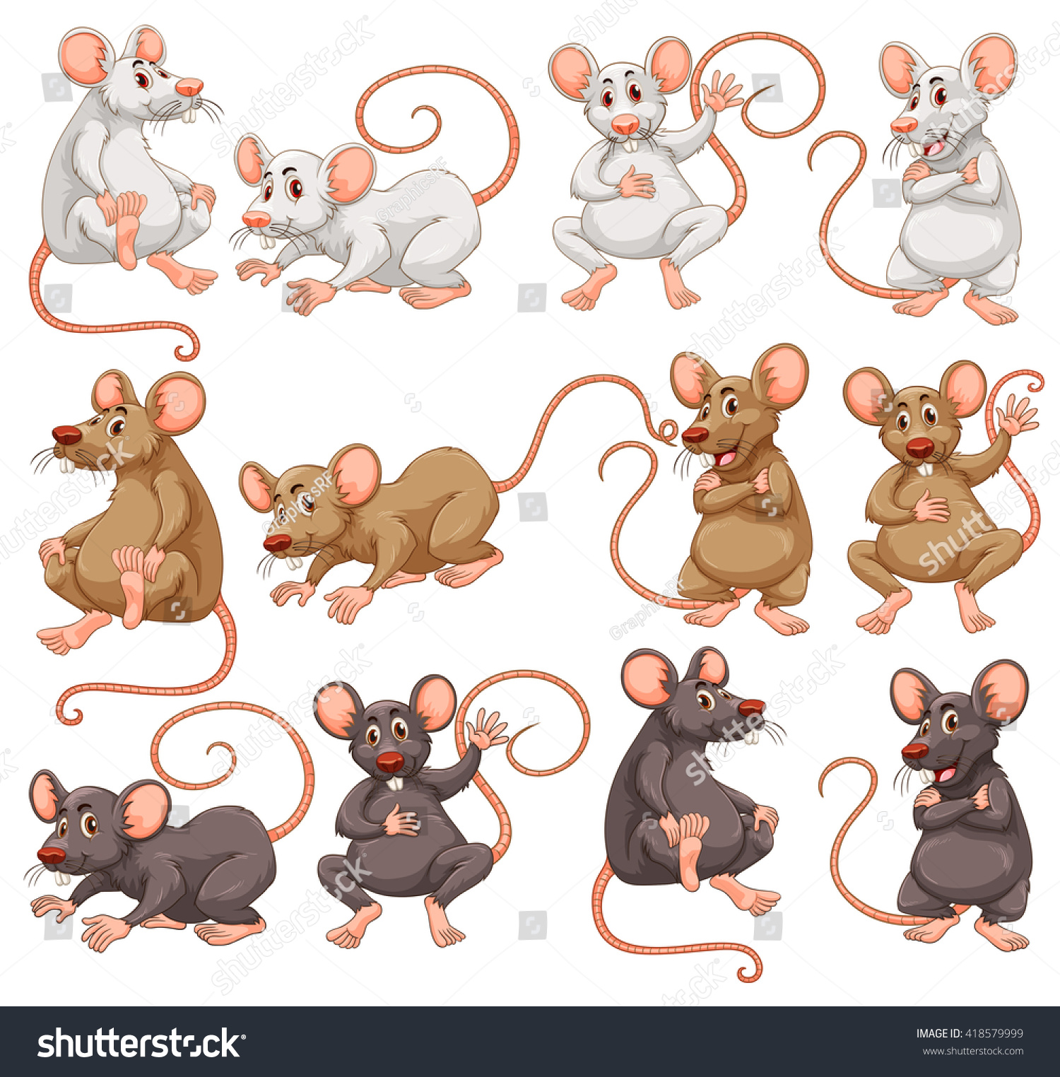 mouse different fur color illustration stock vector 418579999