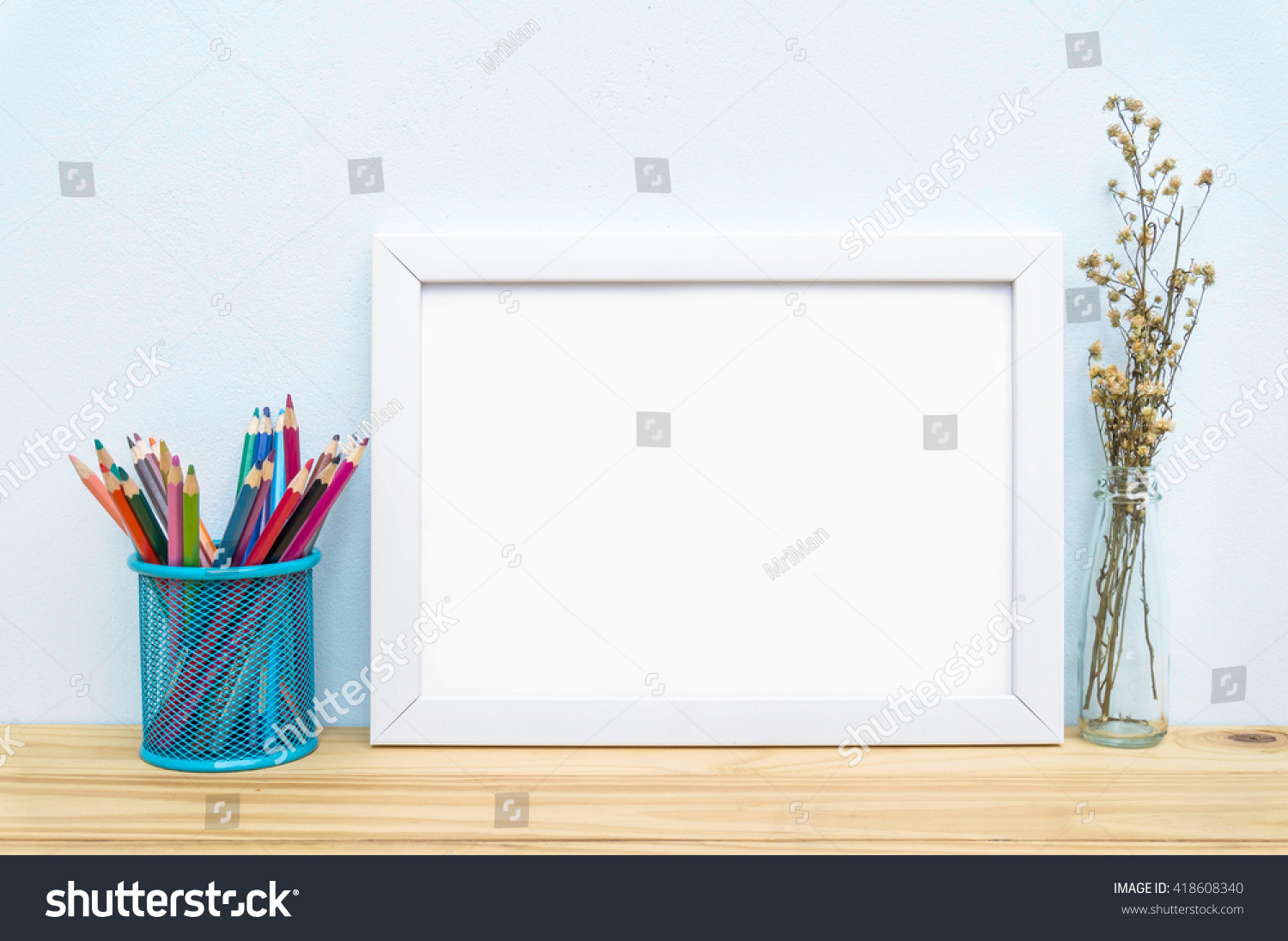 Blank Frame Flower Pencil On Table Stock Photo (Royalty Free ...