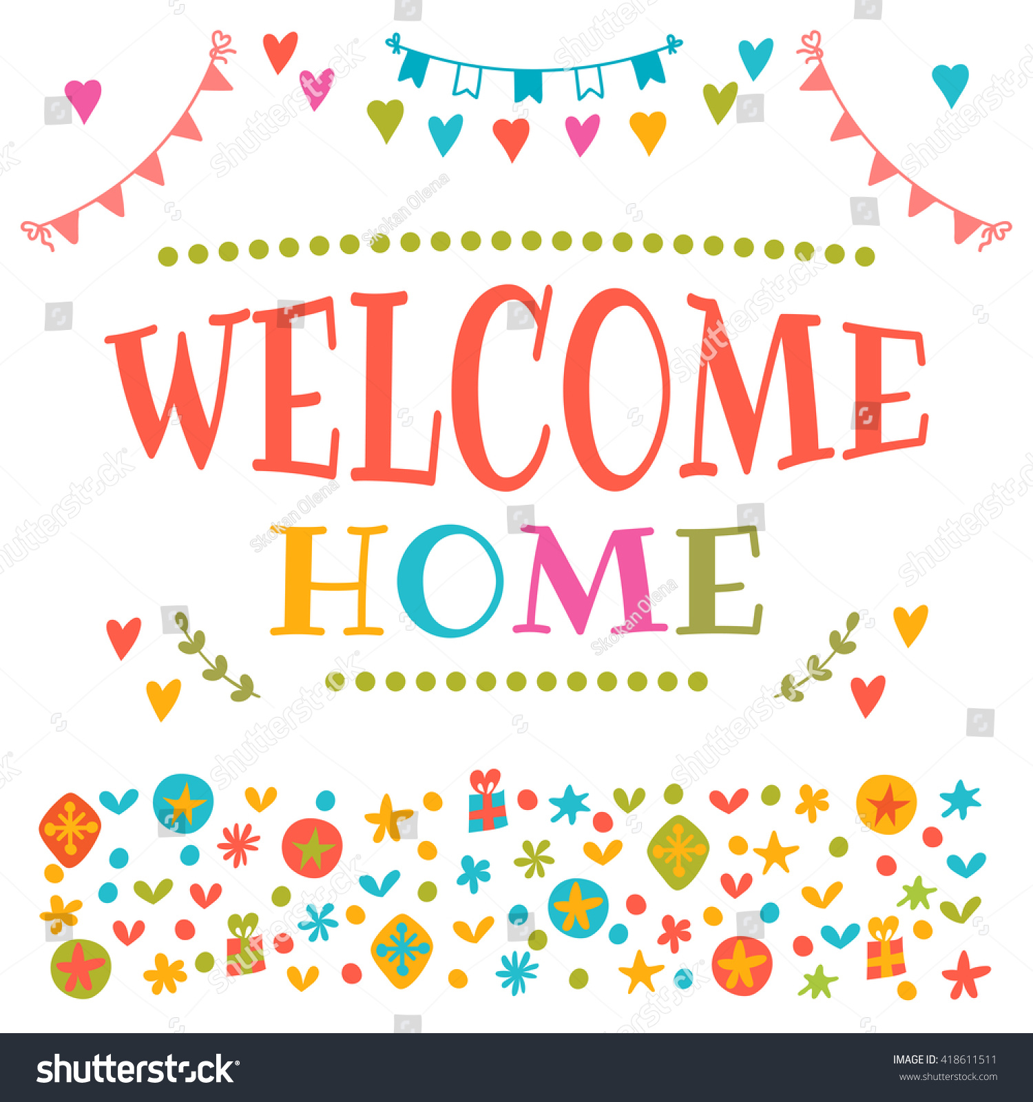 Welcome Home Text Colorful Design Elements Stock Vector 418611511