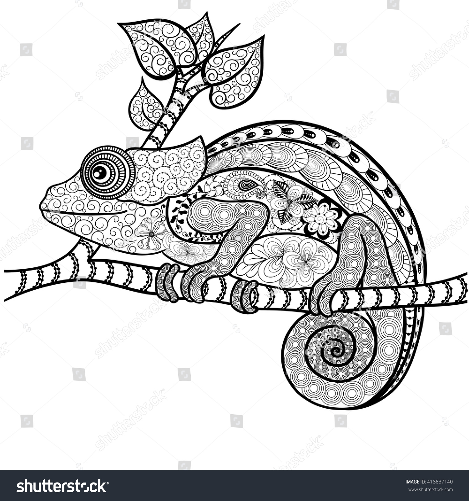Illustration Chameleon Was Created In Doodling Style Black And White Colors Painted