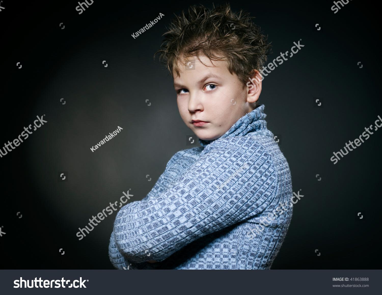 Sad Baby Boy Blue Sweater Hurt Stock Photo 41863888 - Shutterstock