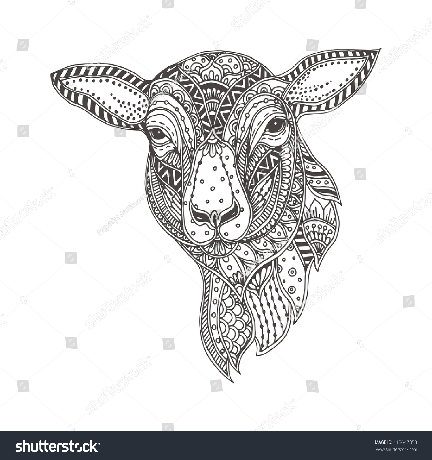 Handdrawn Sheep Ethnic Floral Doodle Pattern Stock Vector (Royalty ...