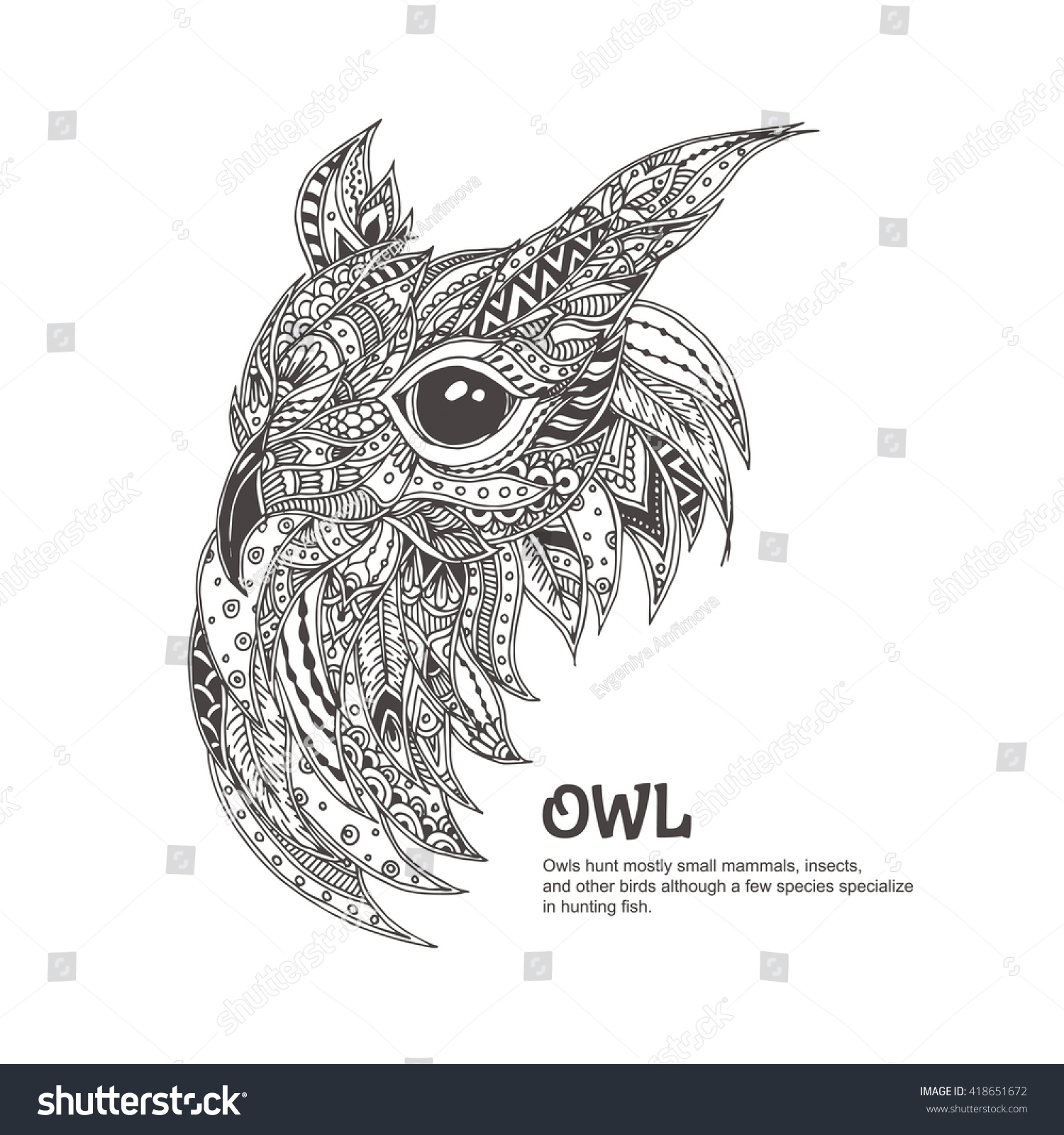 Owl Ethnic Floral Doodle Pattern Coloring Stock Vector (Royalty ... | 1600x1500