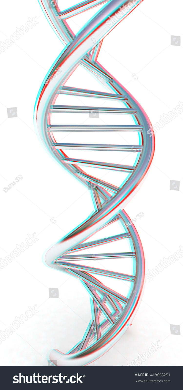 Dna structure model on white 3d stock illustration 418658251 dna structure model on white 3d illustration anaglyph view with redcyan ccuart Gallery