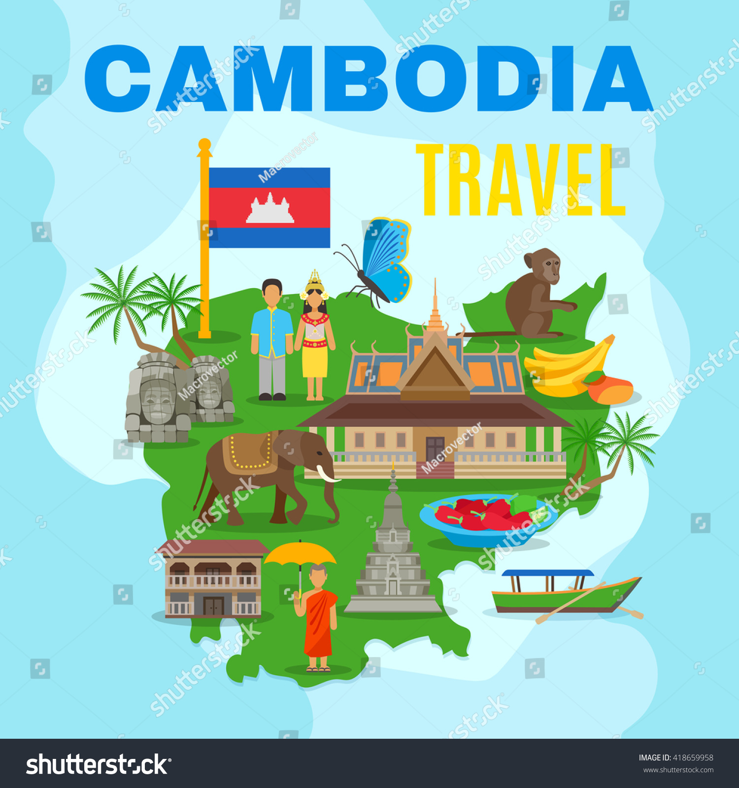 Cambodian Culture National Symbols Country Map Stock Vector Royalty