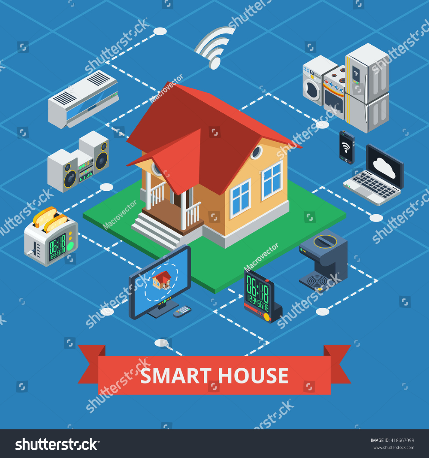 Smart House smart house isometric concept variants wireless stock vector