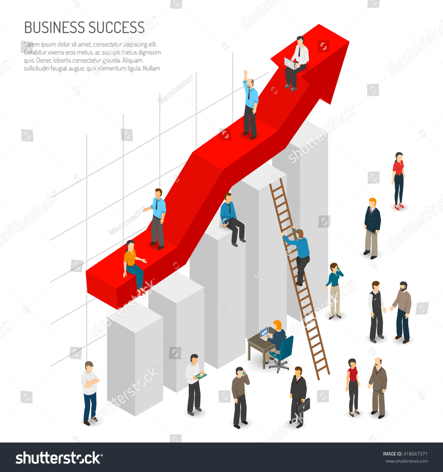 business success poster abstract diagram red stock vector. Black Bedroom Furniture Sets. Home Design Ideas