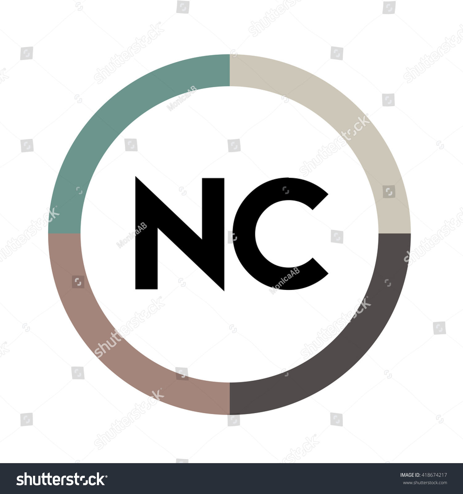 Nc Letters Four Colors Abstract Background Stock Photo (Photo ...