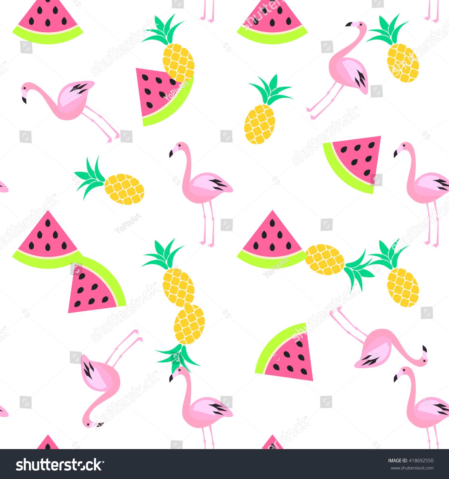 Tropic Summer Seamless White Pattern Watermelon Stock Vector 418692550