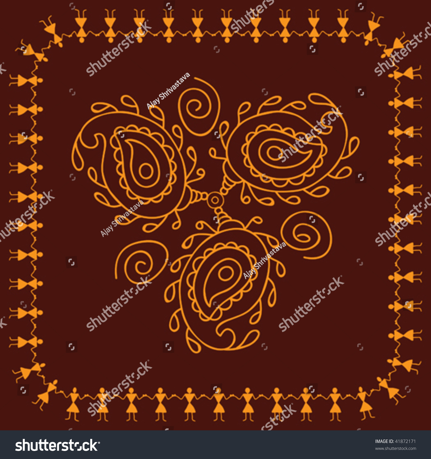 folk tribal designs motif wall hanging painting stock vector illustration 41872171. Black Bedroom Furniture Sets. Home Design Ideas