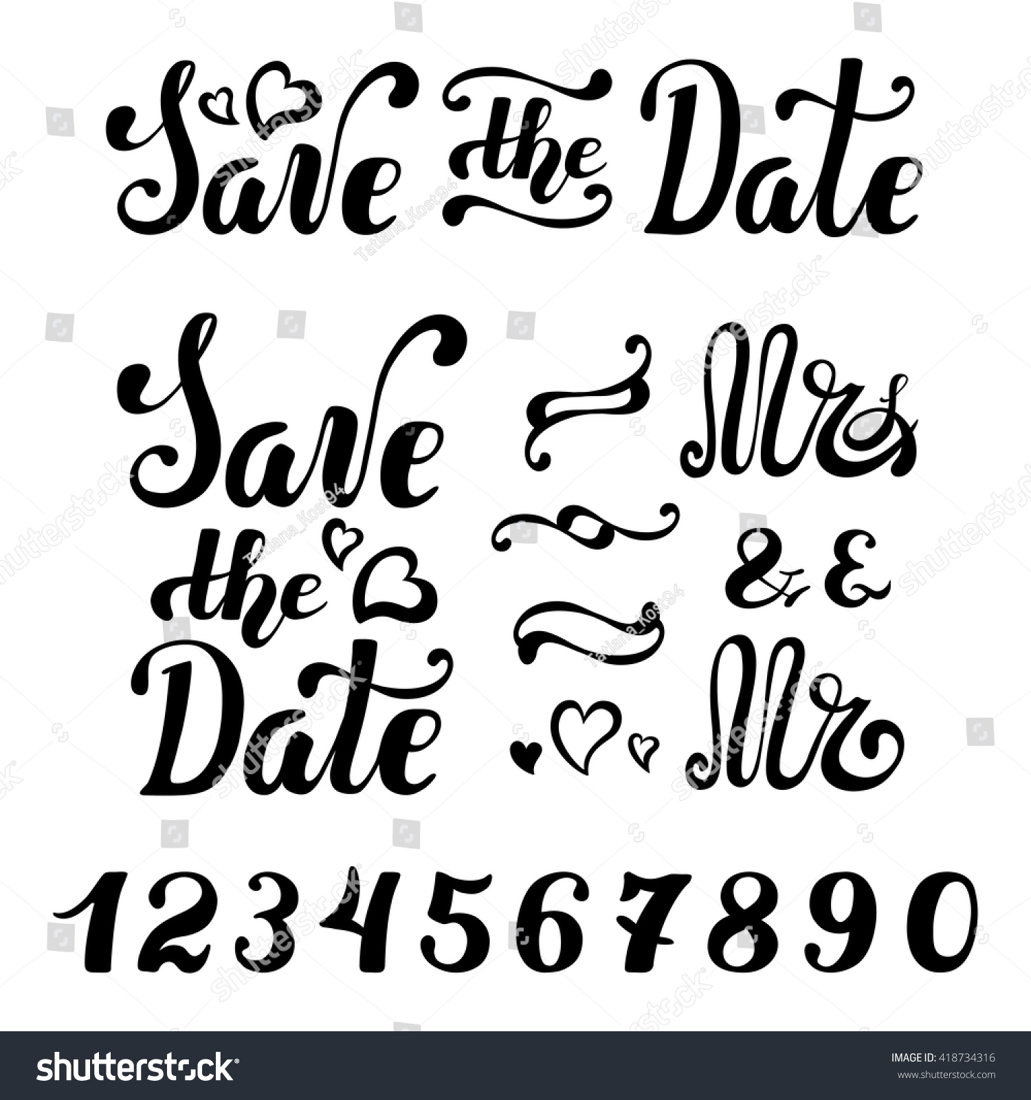 Save Date Wedding Invitation Cards Vector Lettering Template ...