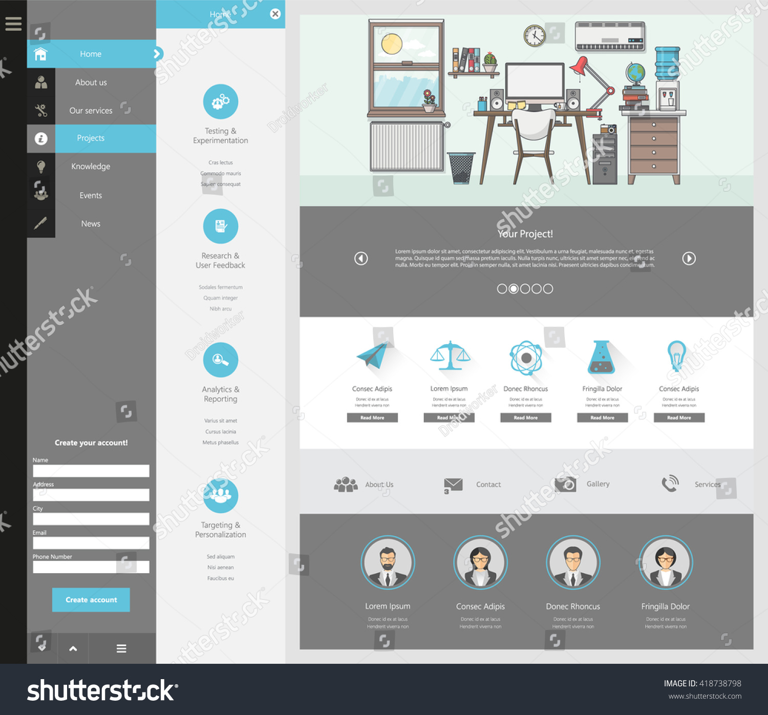 Quality One Page Website Template Vector Stock Vector 418738798 ...