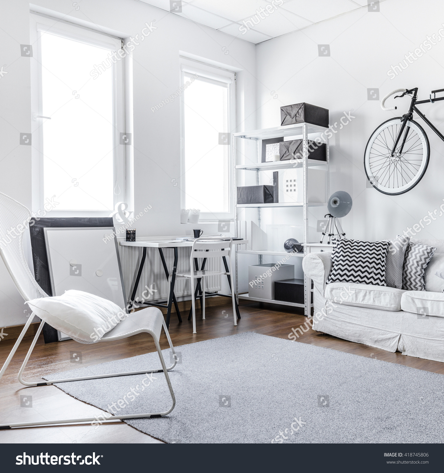 Black White Studio Room Young Hipster Stock Photo 418745806  # Meuble Tv Ypster