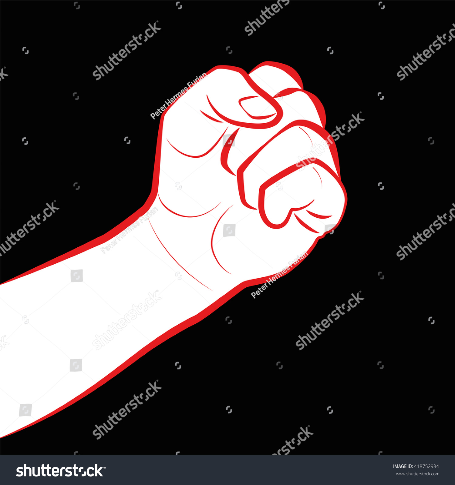 Fist Fight Icon Clenched Fist Symbol Stock Vector 2018 418752934