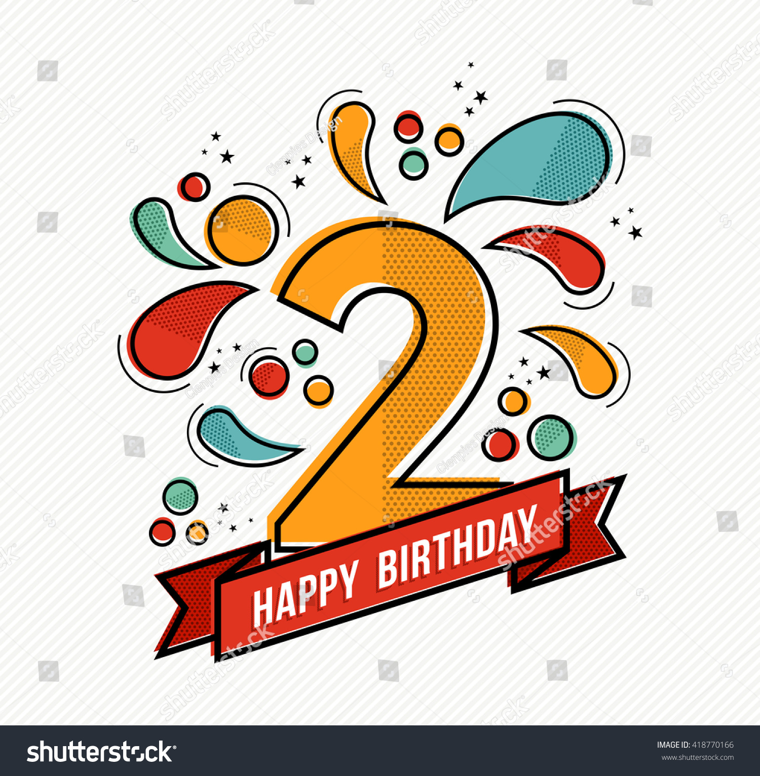 Happy Birthday Number 2 Greeting Card Stock Vector