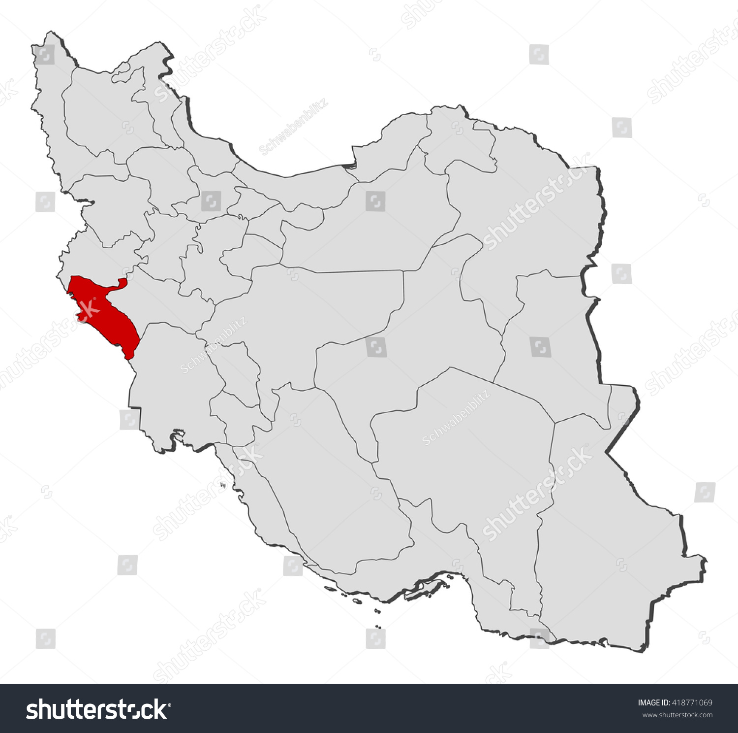 Map Iran Ilam Stock Vector Shutterstock - Ilam map