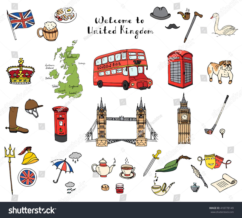 Hand Drawn Doodle United Kingdom Set Stock-Vektorgrafik 418778149 ...