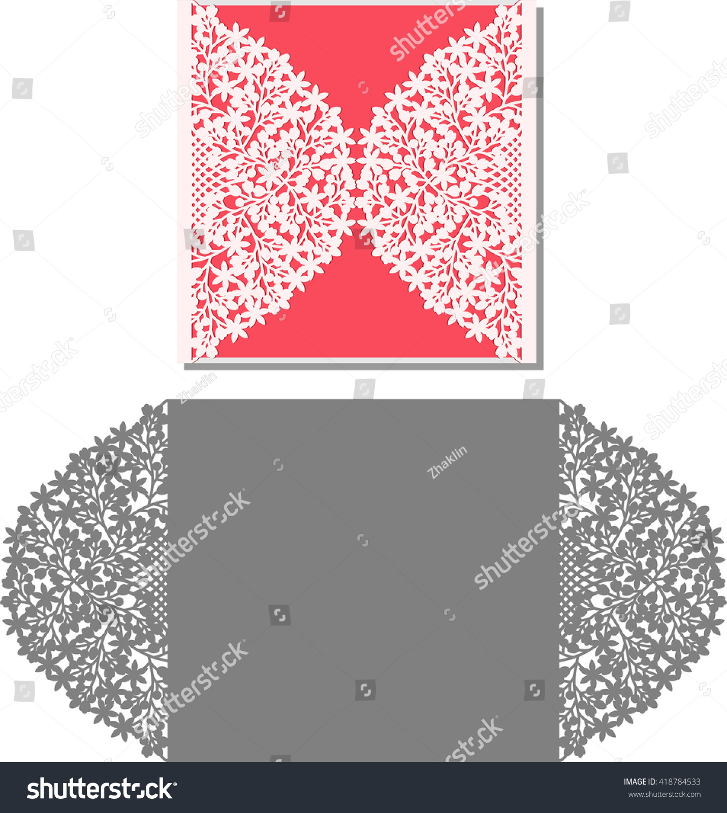 Laser Cut Invitation Card Lasercut Pattern Stock Vector (Royalty ...