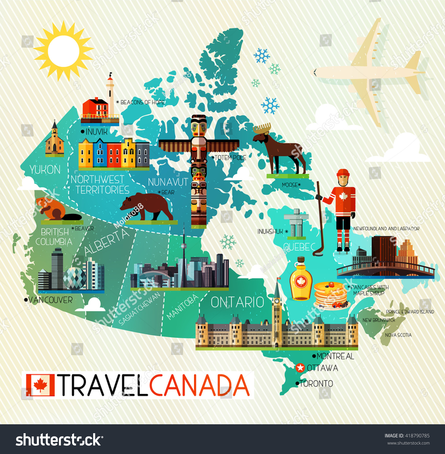 Map canada travel icons canada travel stock vector 418790785 map of canada and travel icons canada travel map vector illustration gumiabroncs Gallery