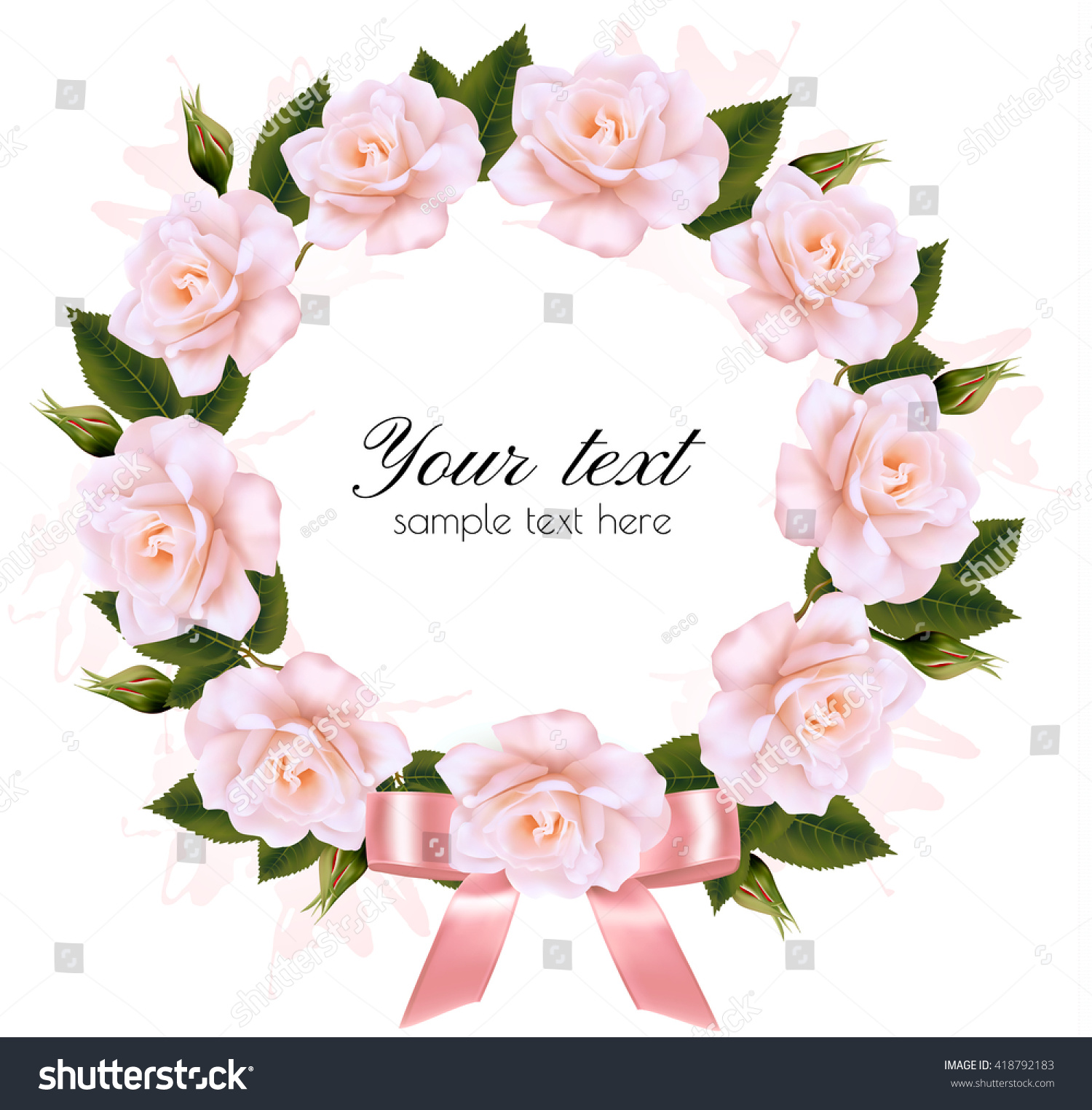 Background Made Out Pink White Flowers Stock Vector 418792183