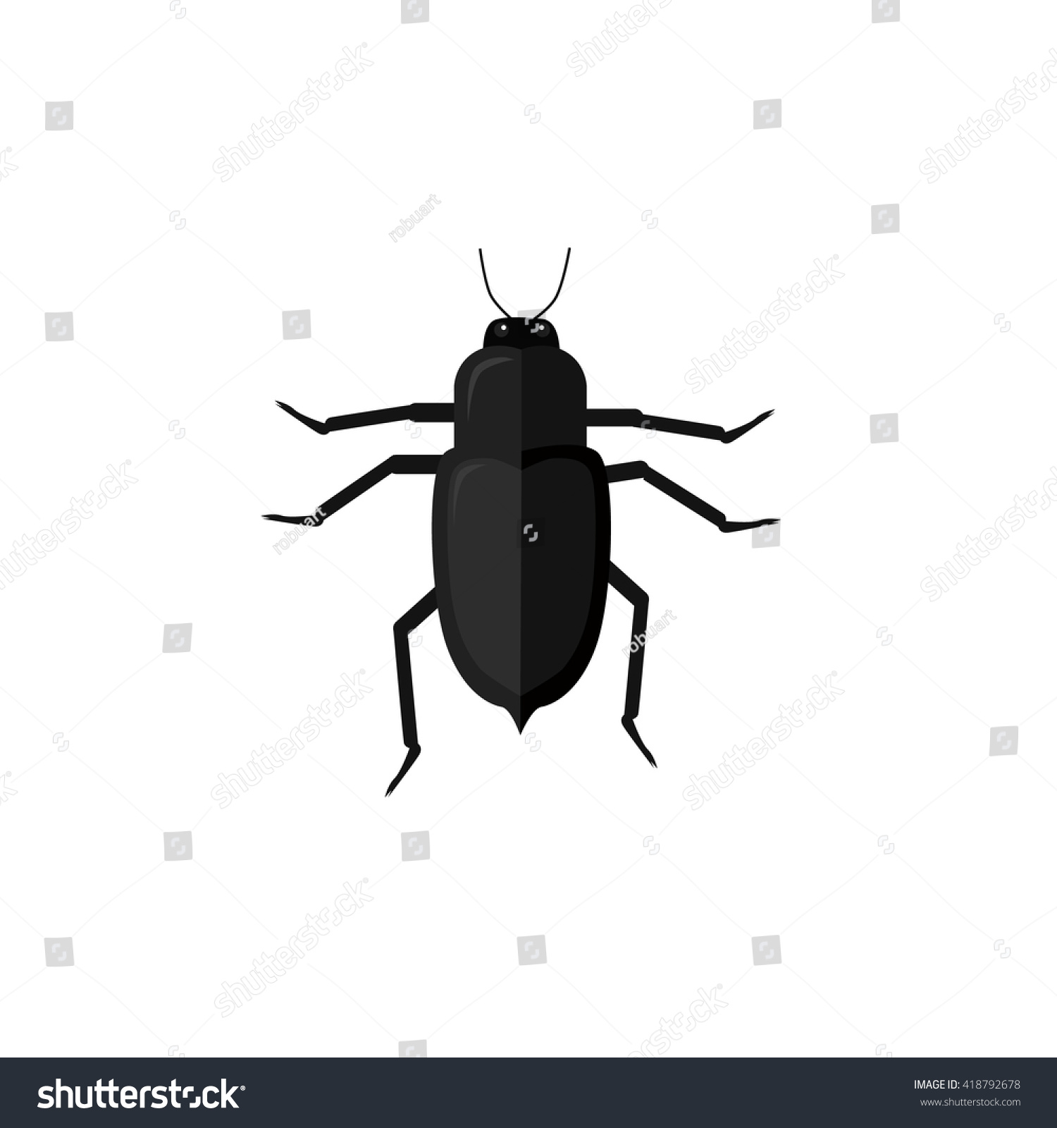 Protaetia may bug insect design flat  Small insect chafer with black legs  and antennae and. Protaetia May Bug Insect Design Flat Stock Vector 418792678