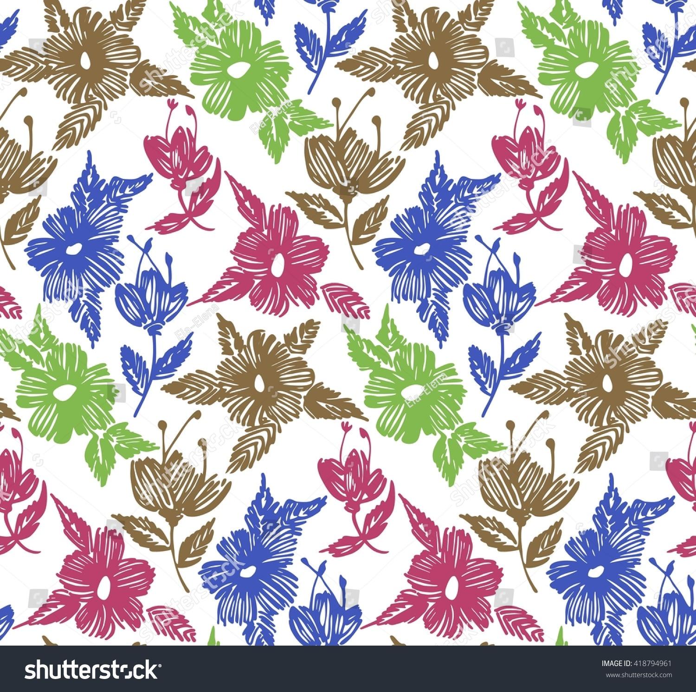 Line Art Flower Pattern : Floral seamless pattern flowers line art stock vector