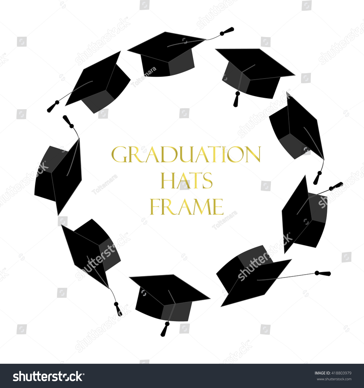 f9ea92953b8 Circle Frame Graduation Caps Place Text Stock Vector (Royalty Free ...