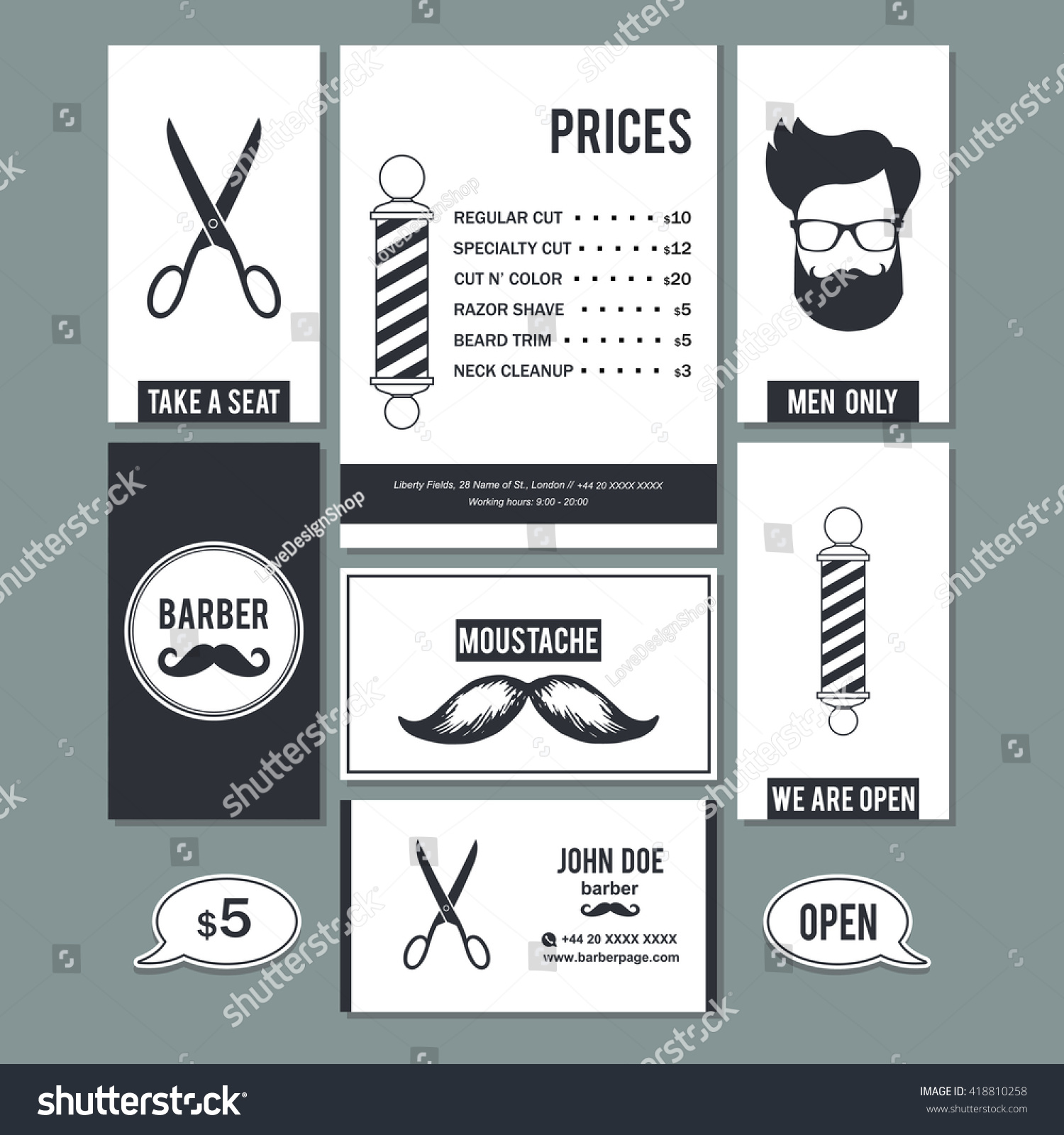 hair salon barber shop vintage sign stock vector 418810258
