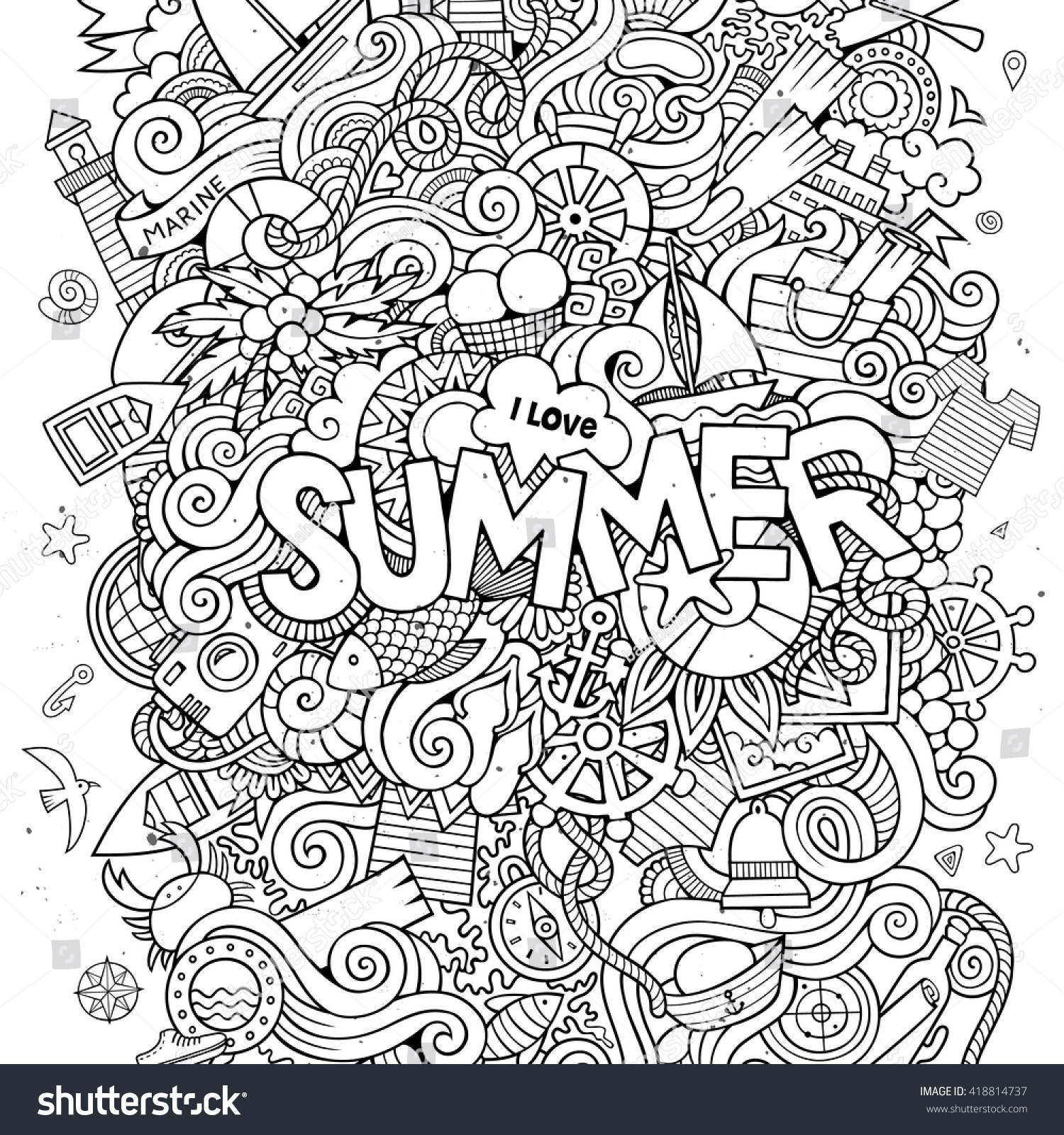 Stock vector music hand lettering and doodles elements - Summer Hand Lettering And Doodles Elements Vector Illustration