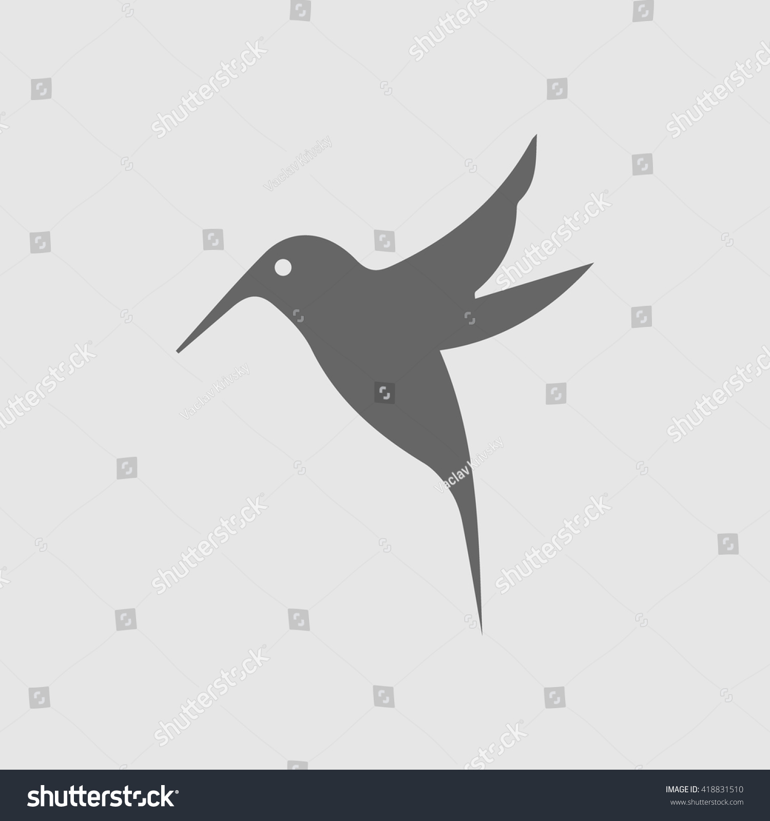 Hummingbird Vector Icon Bird Simple Isolated Stock Vector Royalty