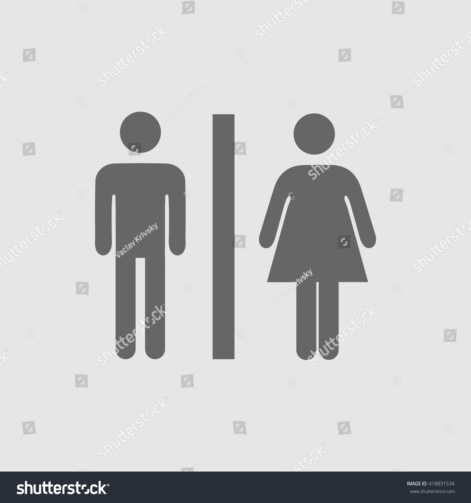 Lady Man Toilet Sign Vector Icon Stock Vector Royalty Free