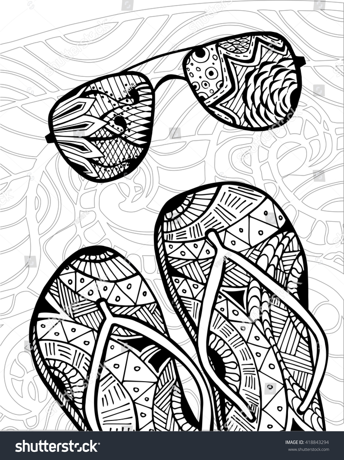 Hand Drawn Zentangle Of Flip Flops At The Beach For Coloring Book