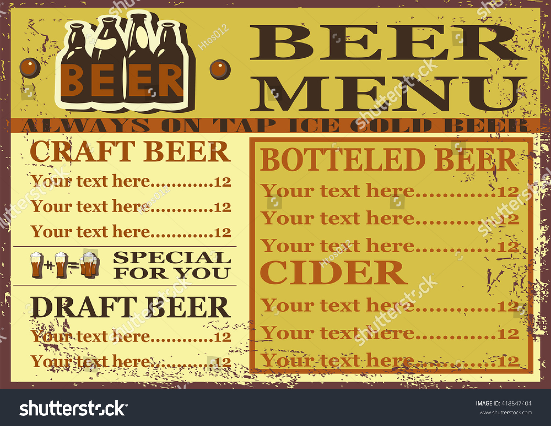 Beer Menu Beer Menu Design Contains Images Stock Vector Royalty