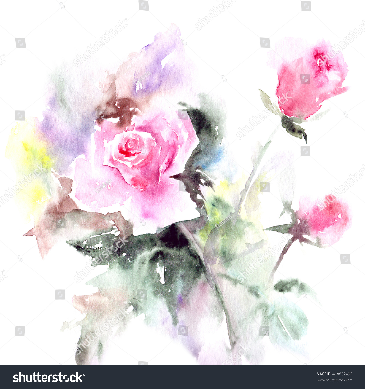 Greeting Card Roses Watercolor Floral Bouquet Stock Illustration