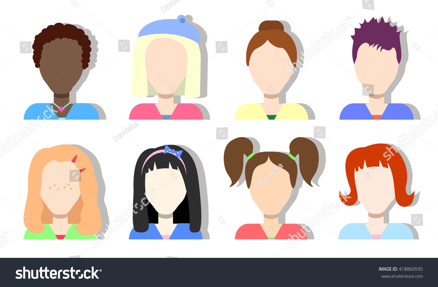 Faceless Avatar Icons Girls Women Diversity Stock Vector 418860595 ...