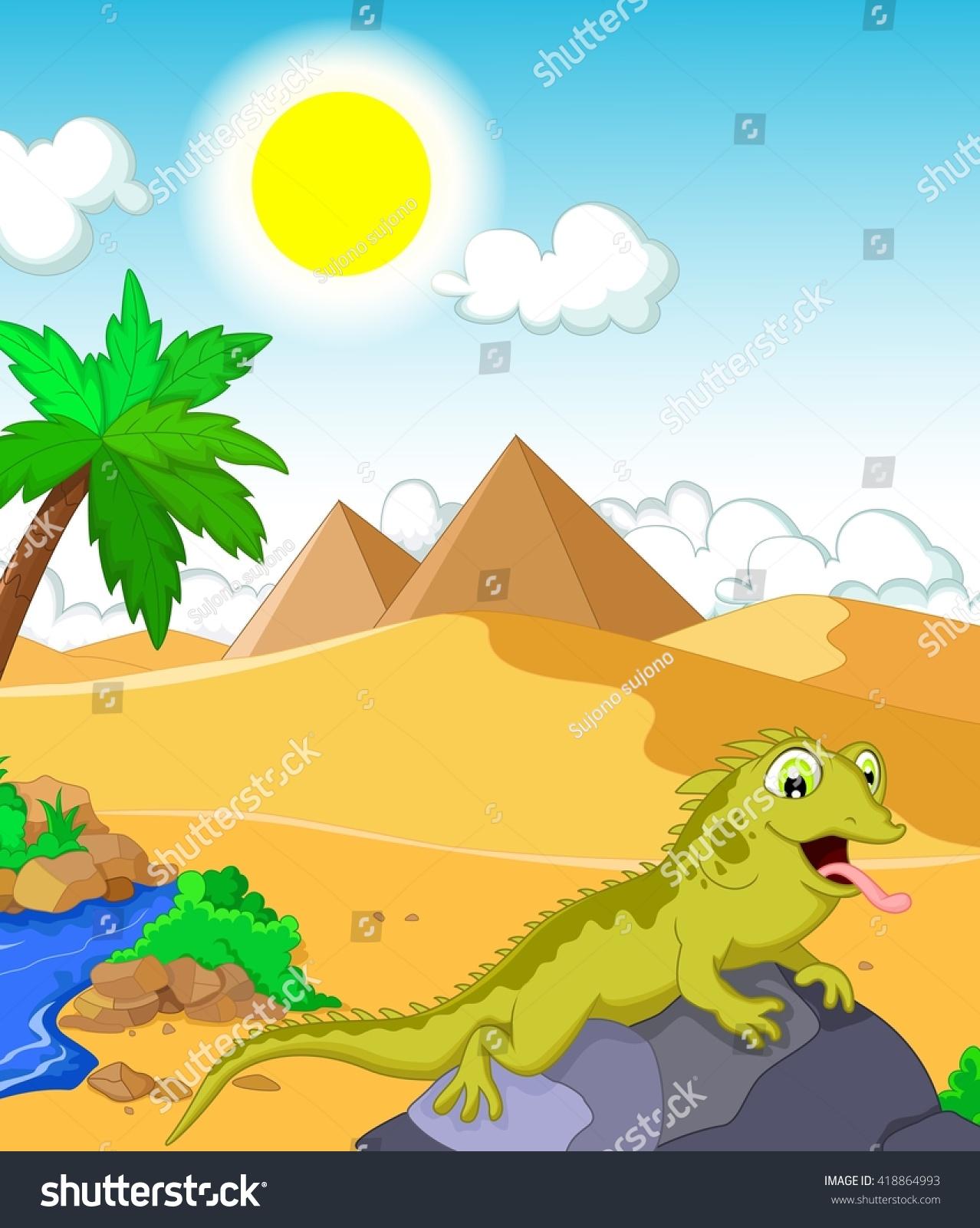 Lizard Cartoon Desert Pyramid Background Stock Vector ...