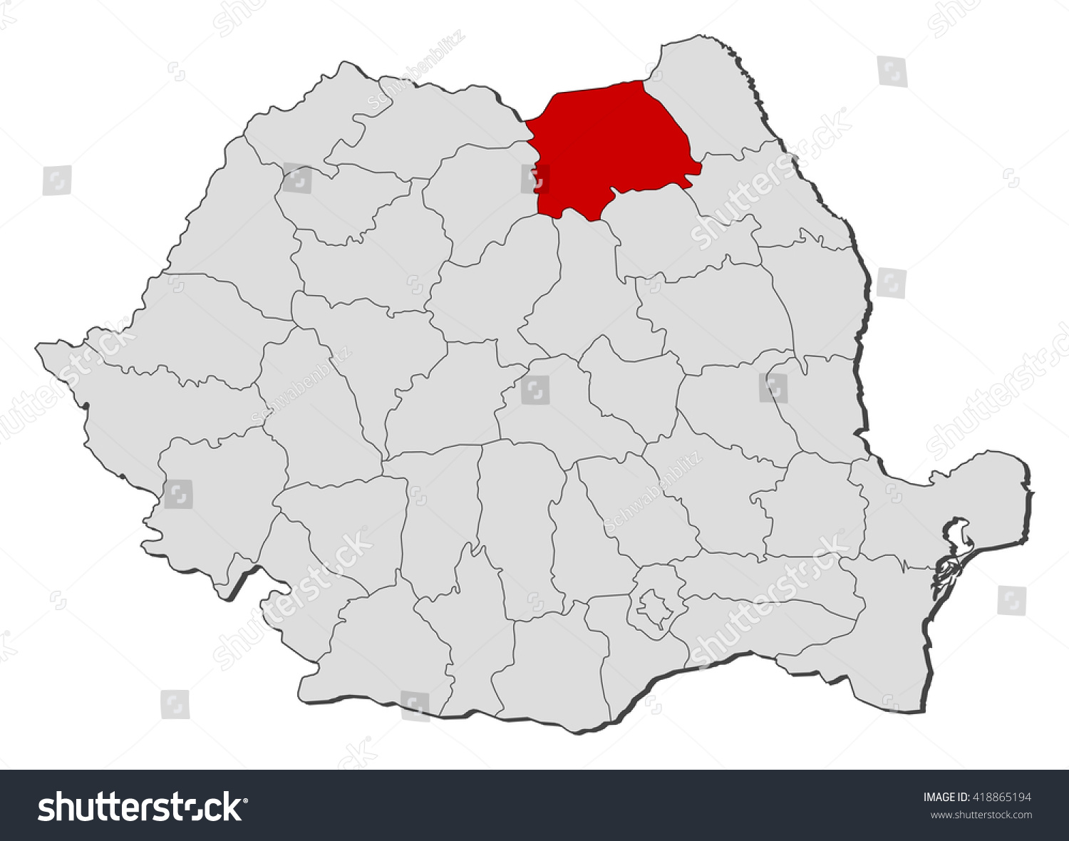 Map Romania Suceava Stock Vector 418865194 Shutterstock