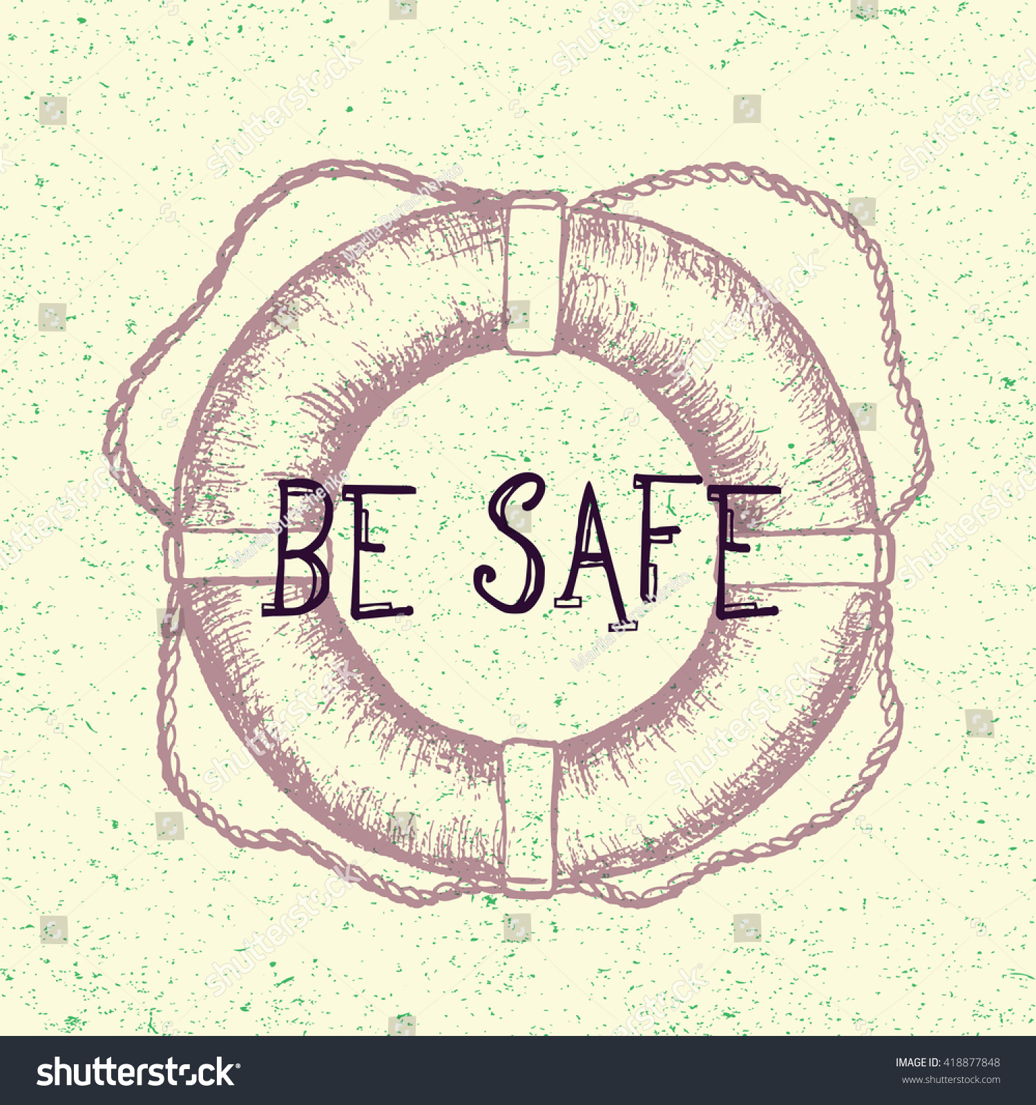 Be Safe Hand Drawn Lifebuoy Tattoo Stock Vector Royalty Free
