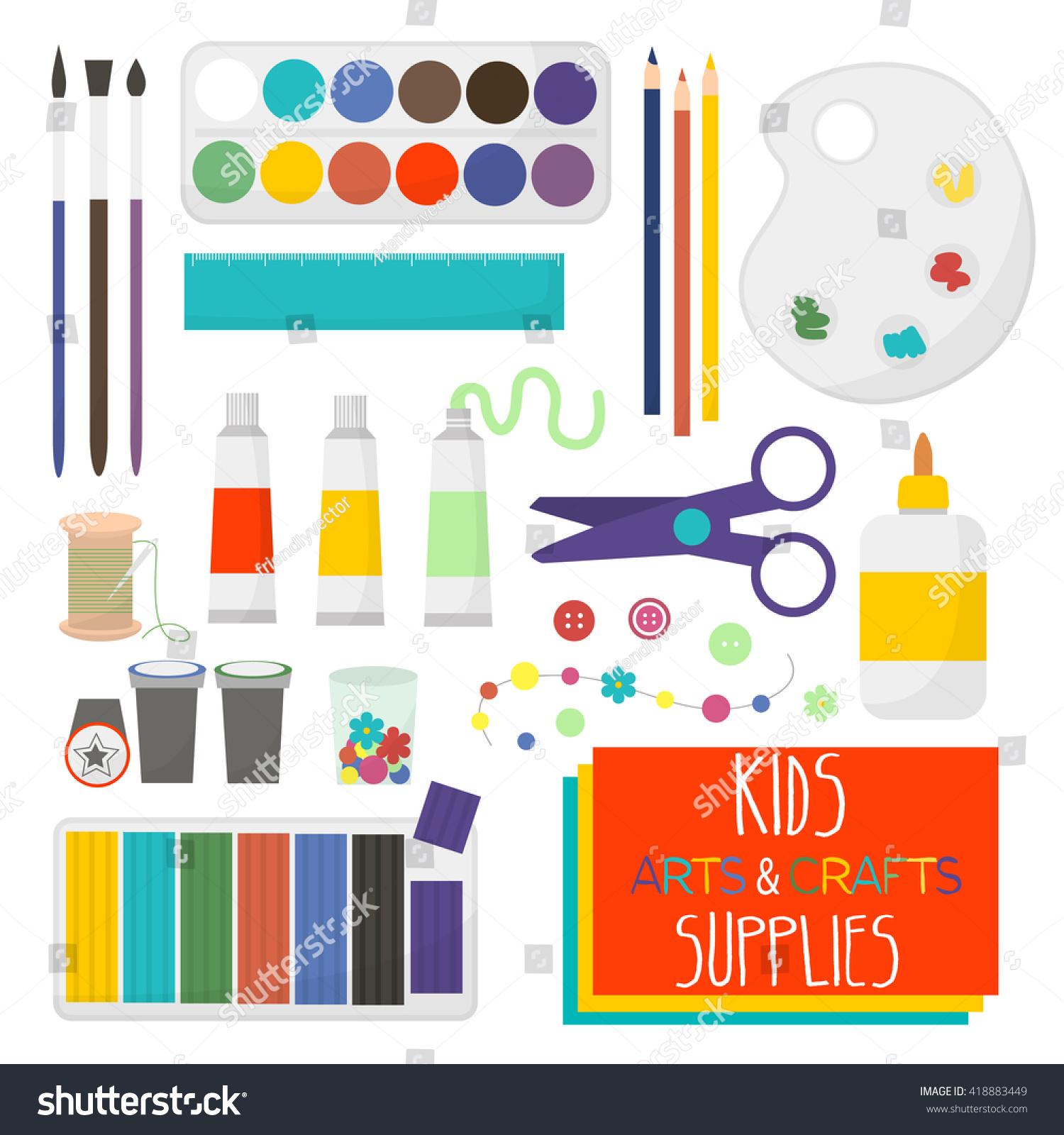 kids artistic materials set art crafts stock vector 418883449 shutterstock - Color Paper For Kids