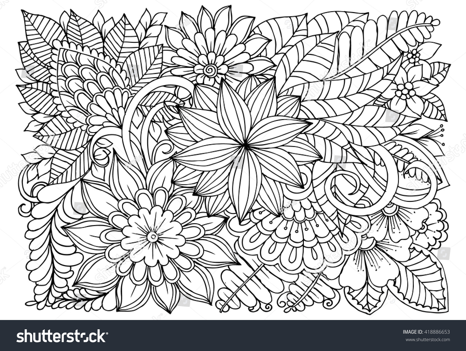 Flowers Black White Doodle Art Coloring Stock Vector (Royalty Free ...