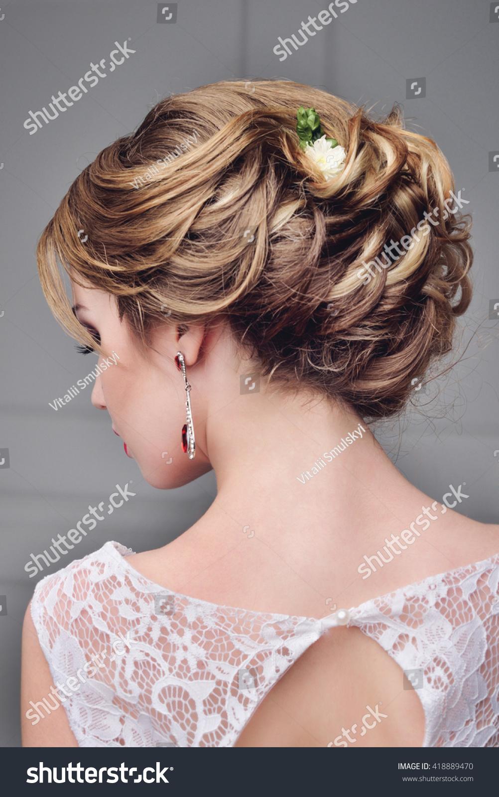 Beautiful Bride Portrait Wedding Makeup Hairstyle Stock Photo ...