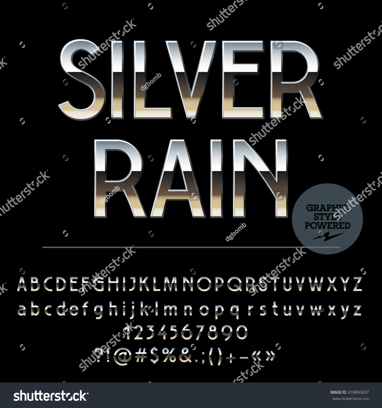 vector set of shiny silver alphabet letters numbers and punctuation symbols art deco style 418890697 shutterstock
