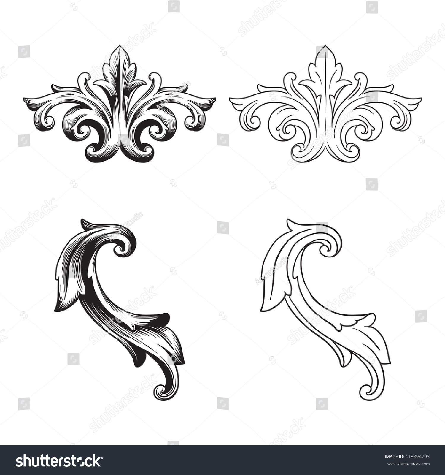 Illustration of set of vintage design elements baroque for Baroque design elements