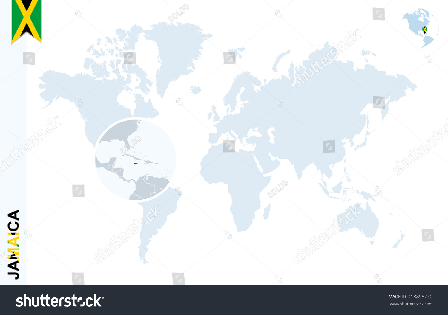 World map magnifying on jamaica blue stock vector 418895230 world map with magnifying on jamaica blue earth globe with jamaica flag pin zoom gumiabroncs Image collections
