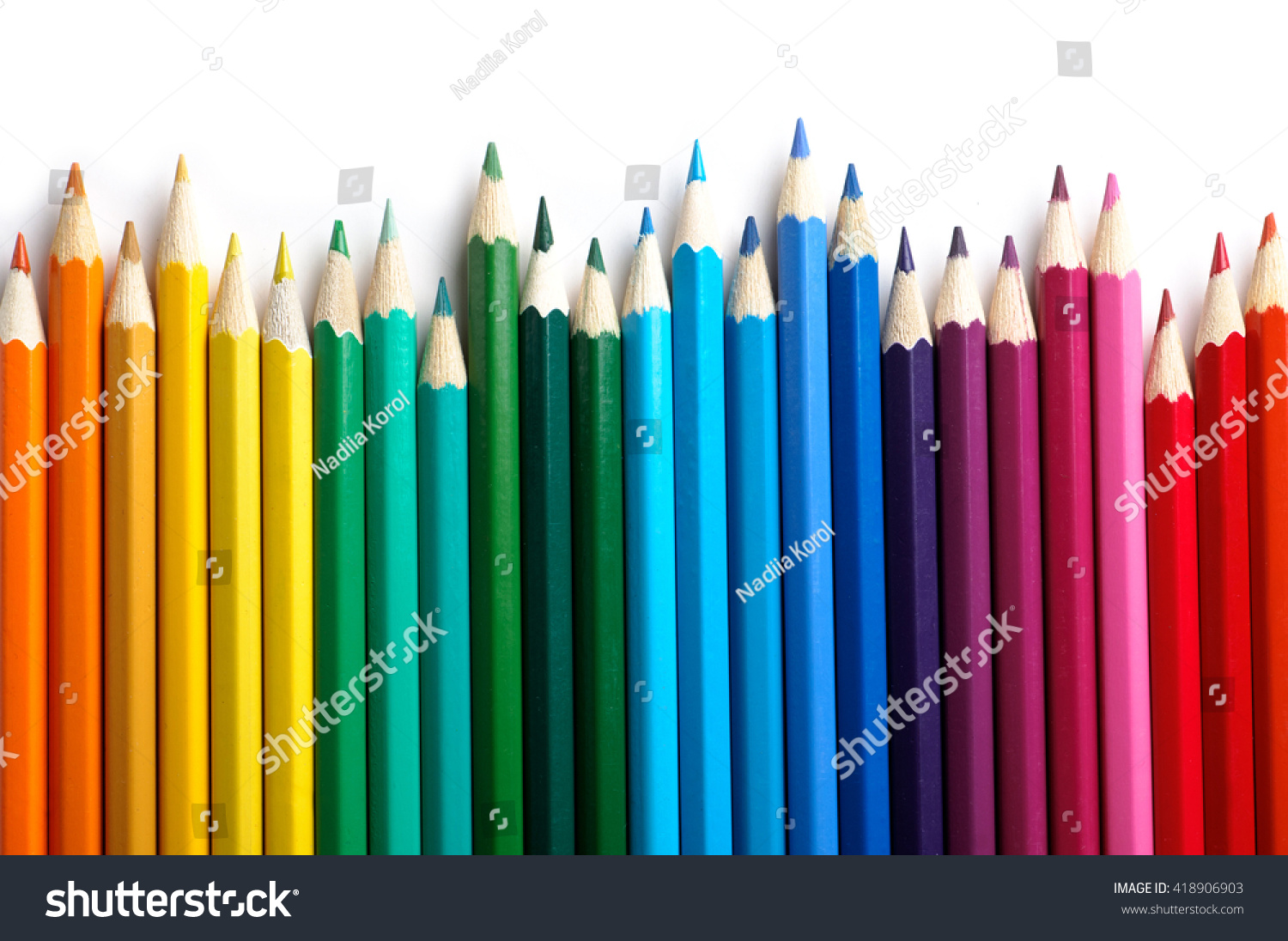 Color pencils isolated on white background.Close up. #418906903