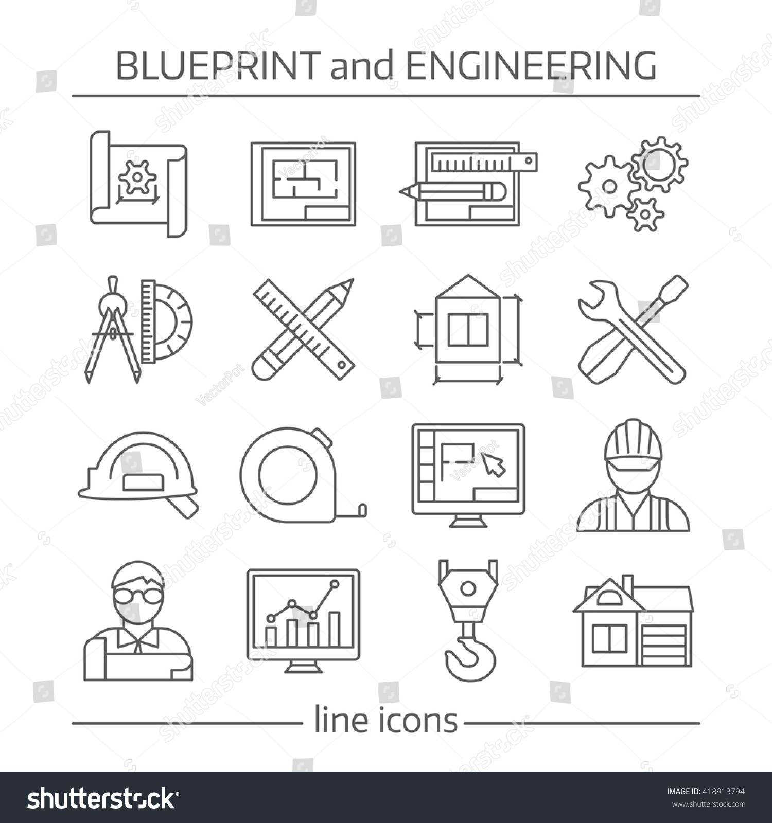 Blueprint engineering linear icons set gears vectores en stock blueprint and engineering linear icons set with gears computer programs crane tools drafts schemes isolated vector malvernweather Choice Image