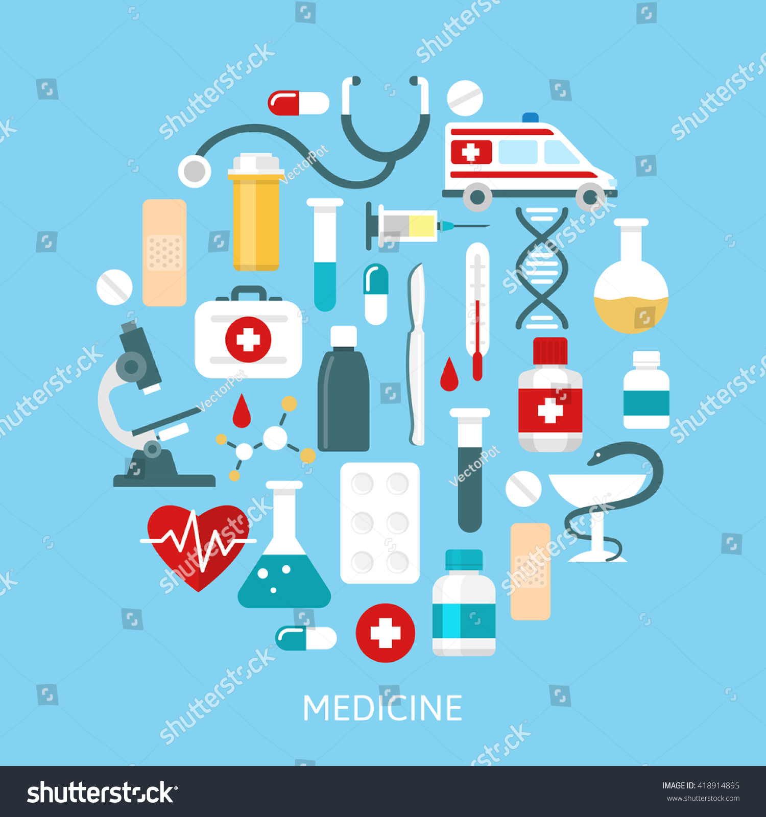 Flat Medicine Poster Medical Accessories Middle Stock Vector ...