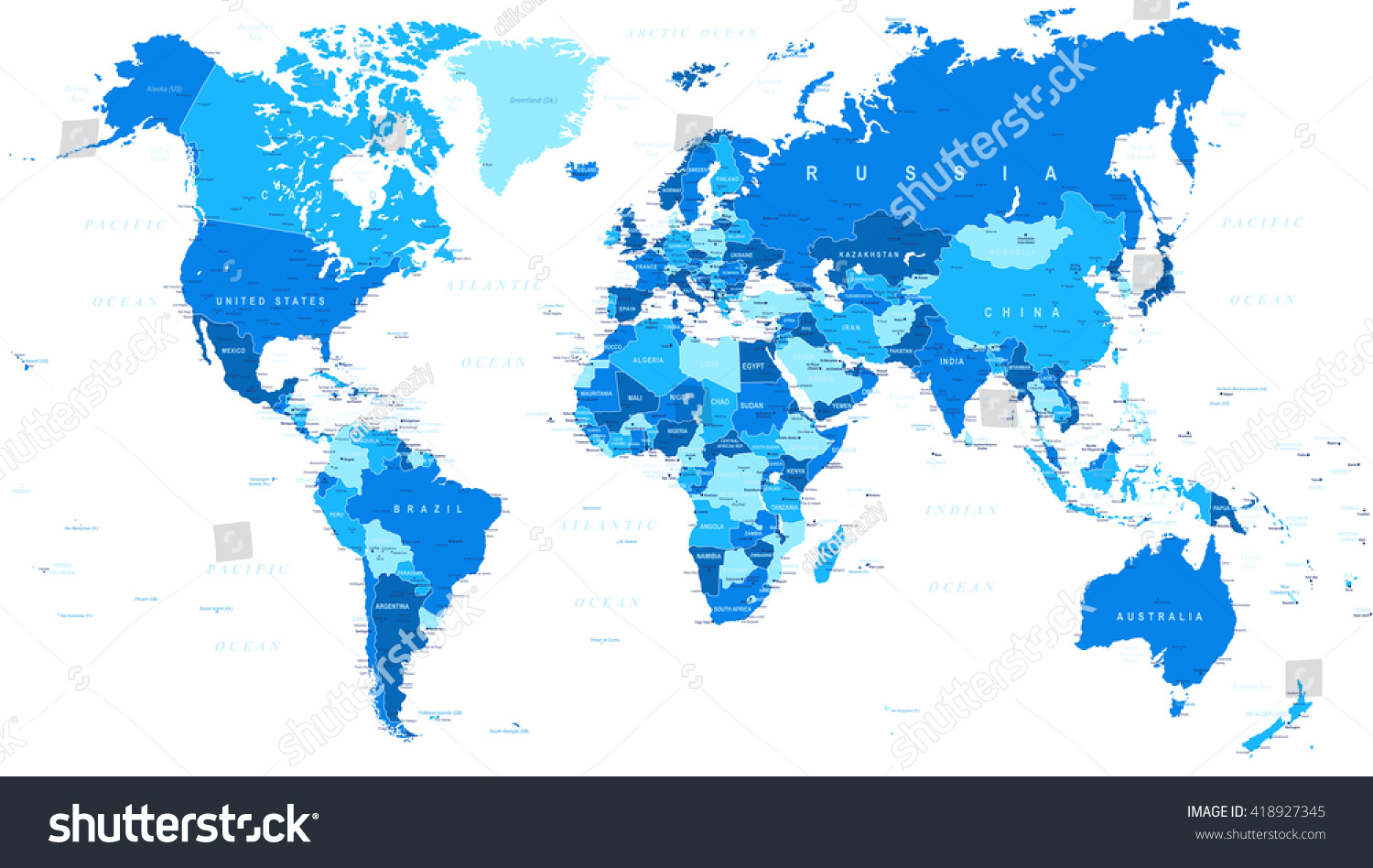 Blue world map borders countries cities stock vector 418927345 blue world map borders countries and cities illustration highly detailed vector illustration of gumiabroncs Image collections