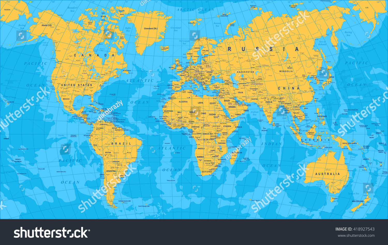 yellow blue world map borders countries stock vector 418927543